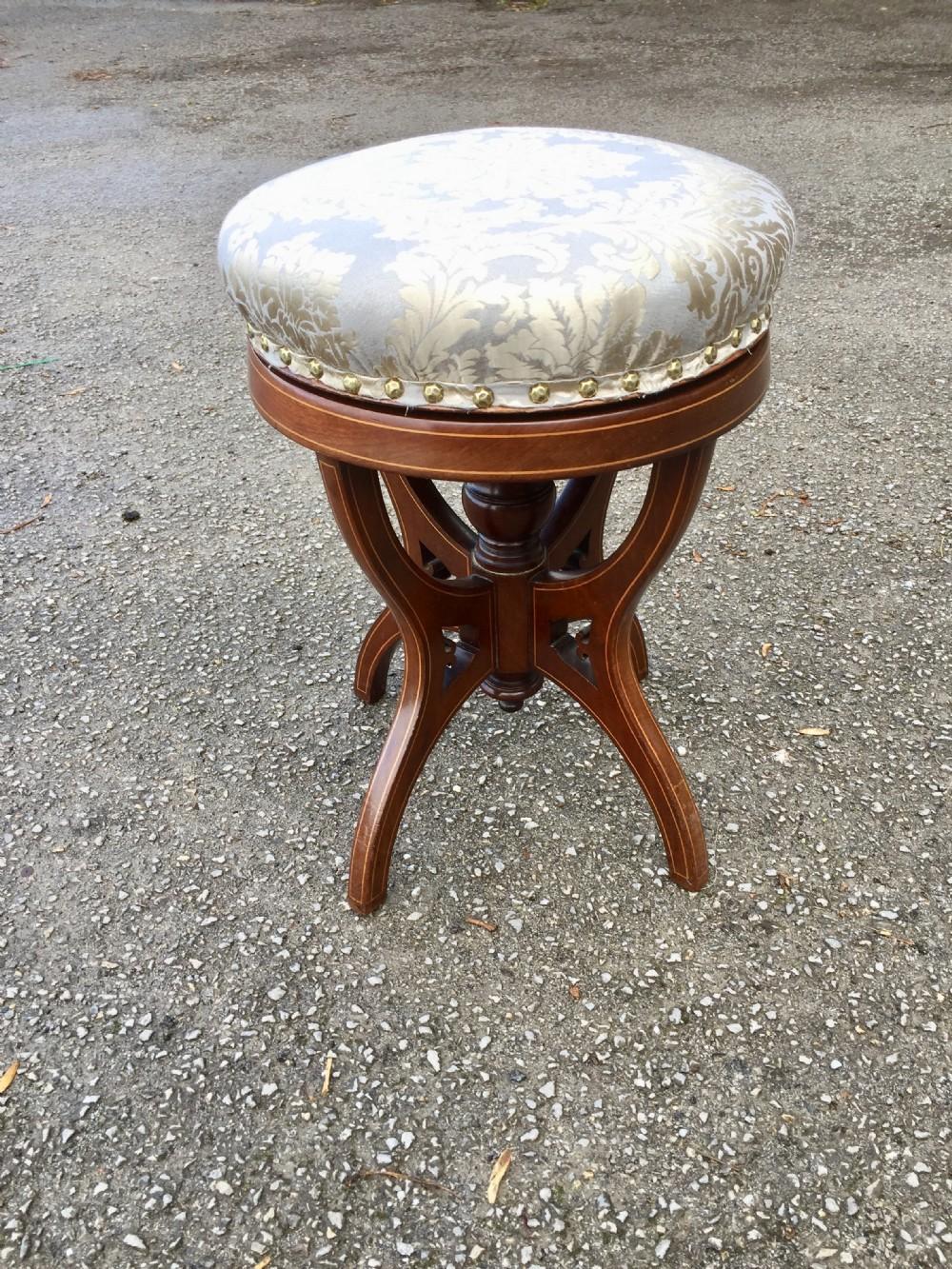 nineteenth century inlaid mahogany height adjustable circular piano stool