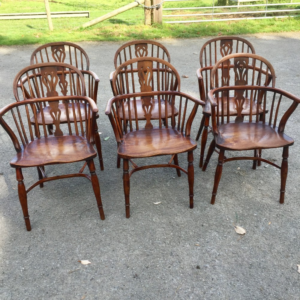 set of six georgian yew and elm windsor chairs circa 1820