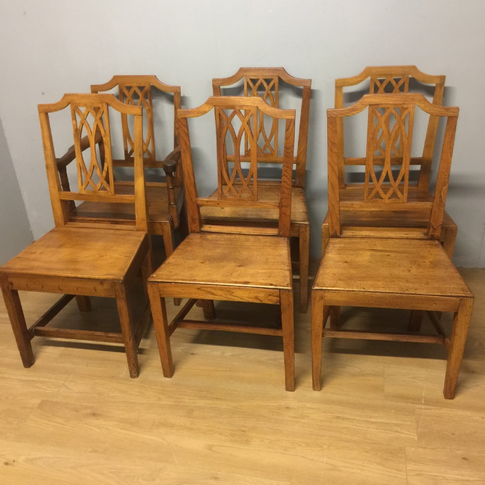 nineteenth century set of six country elm chairs