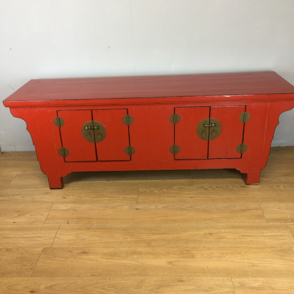chinoiserie red lacquer side cabinet circa 1920