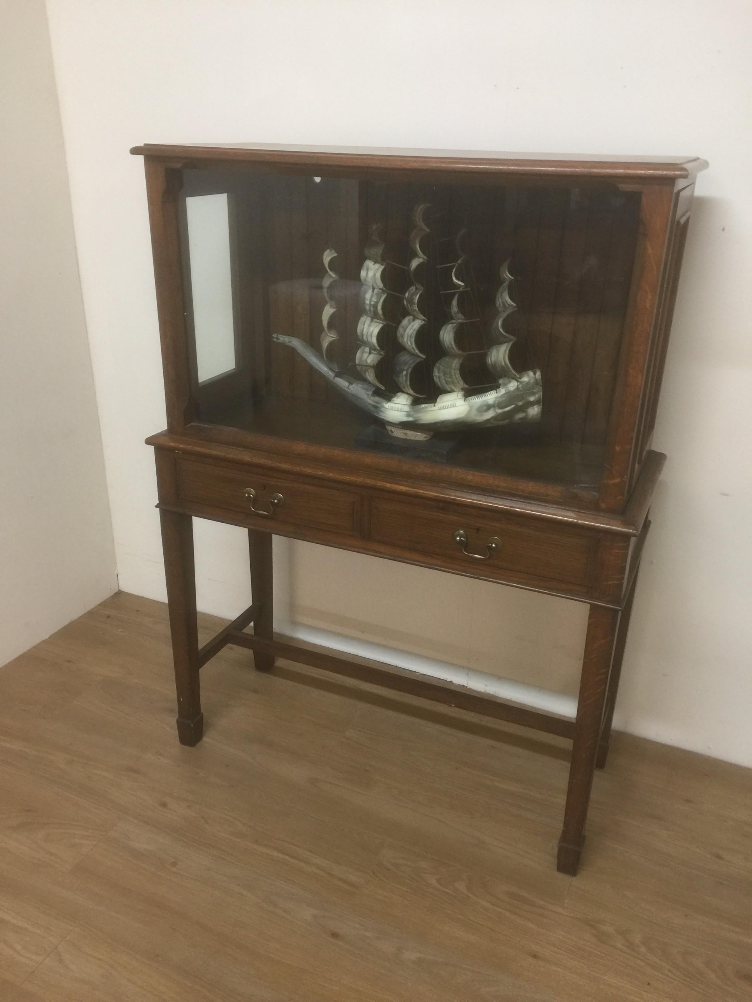 edwardian golden oak model cabinet