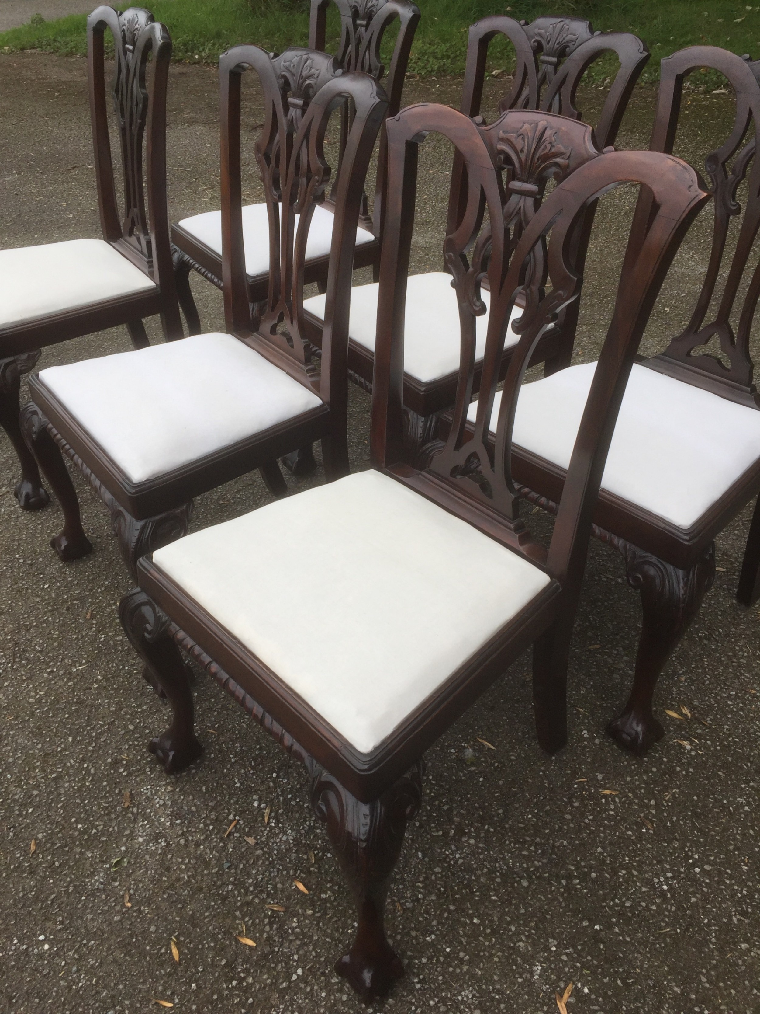 set of six carved mahogany chippendale style dining chairs