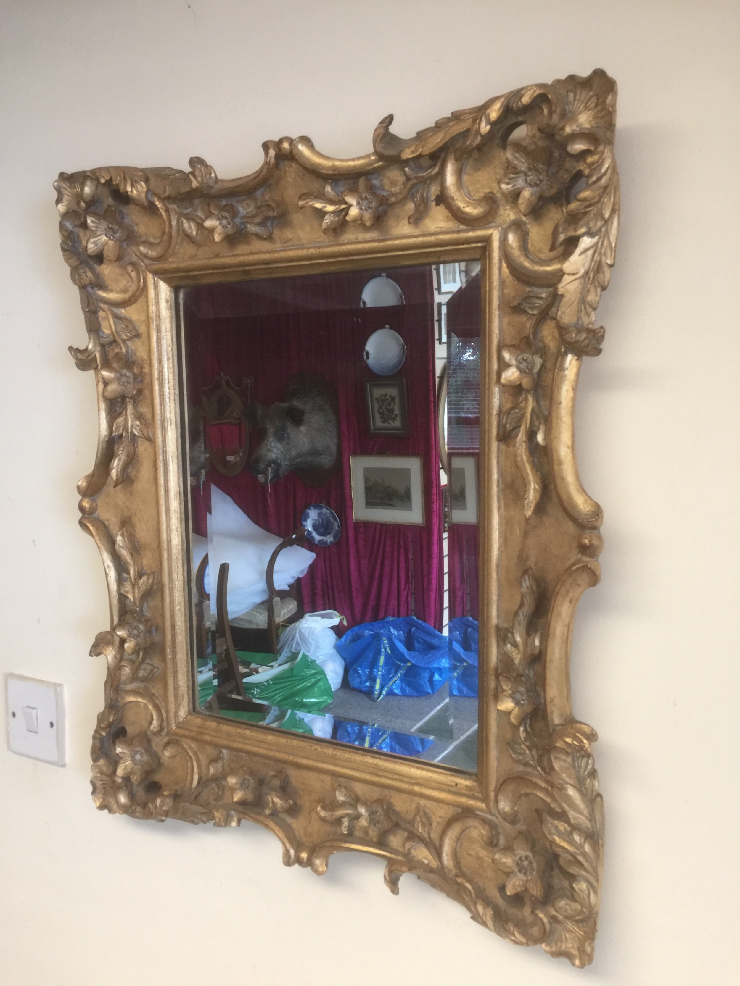 nineteenth century carved wood and gilded mirror