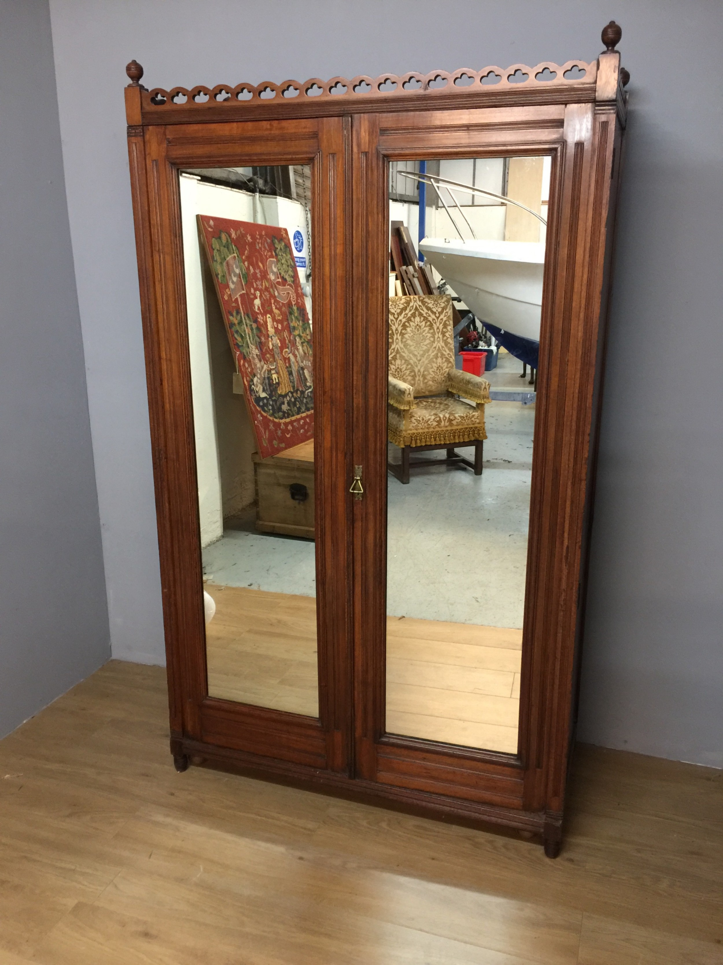nineteenth century walnut two door wardrobe