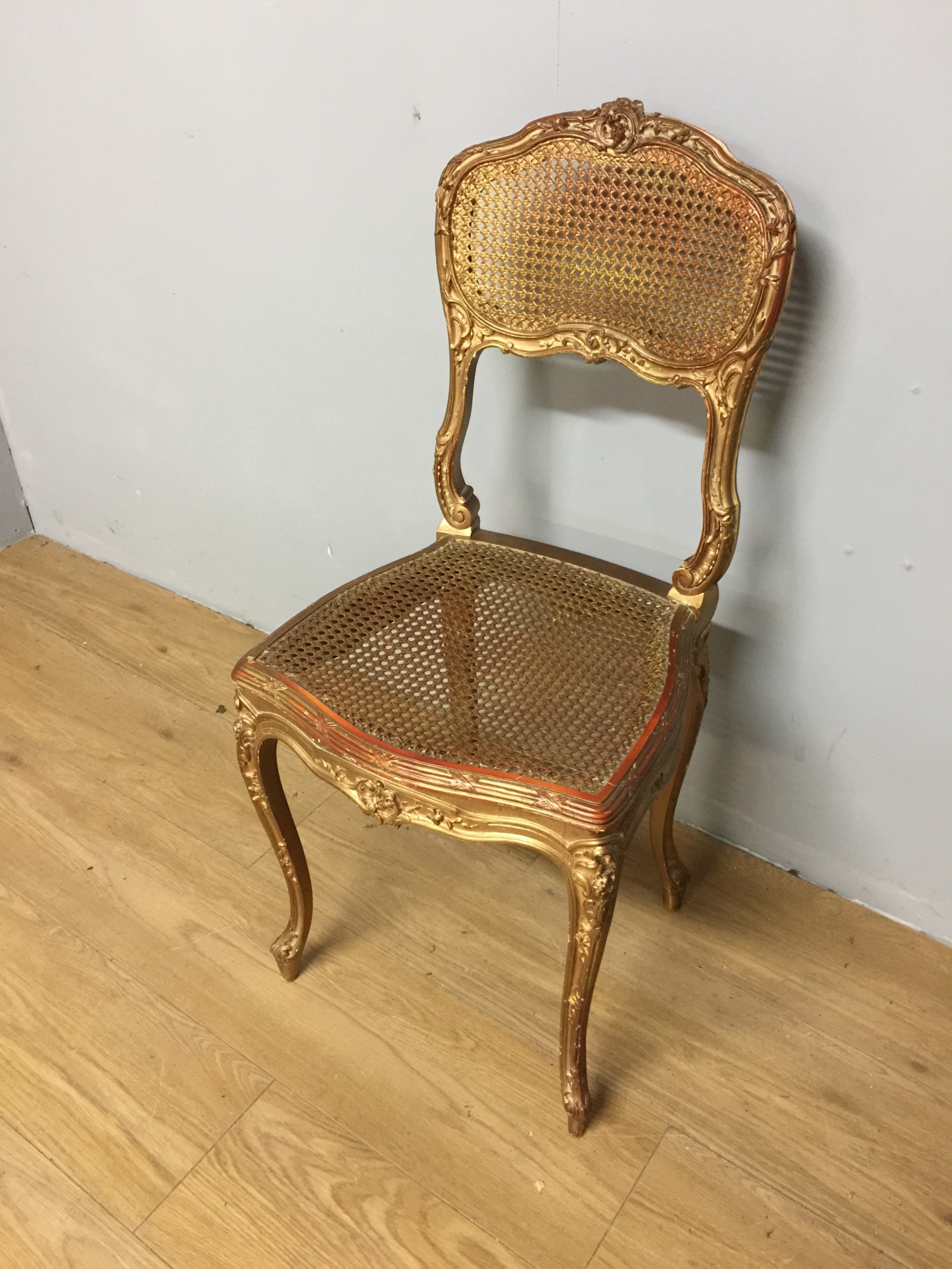 nineteenth century french gilded bergere chair