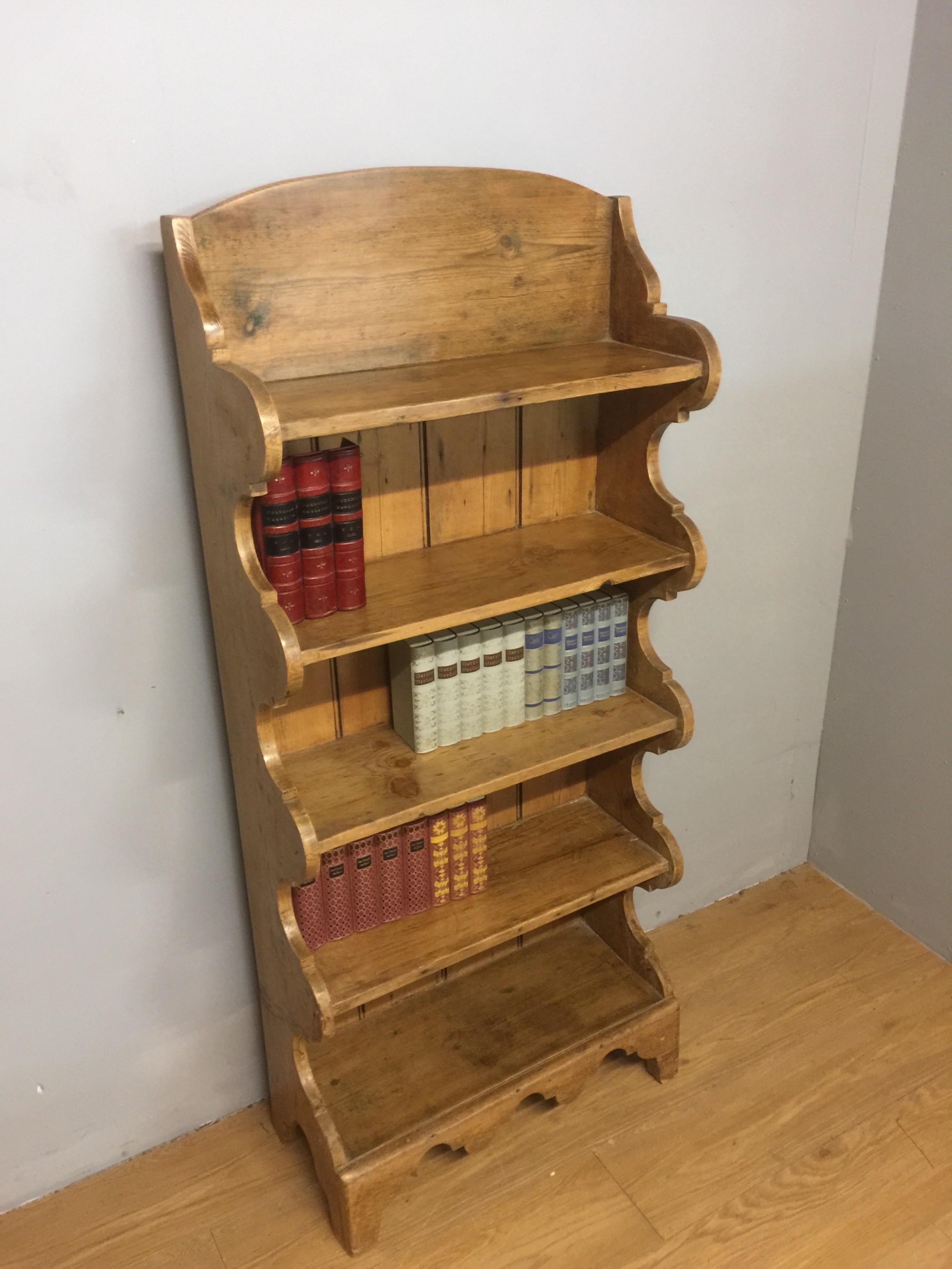 nineteenth century slim pine bookshelves