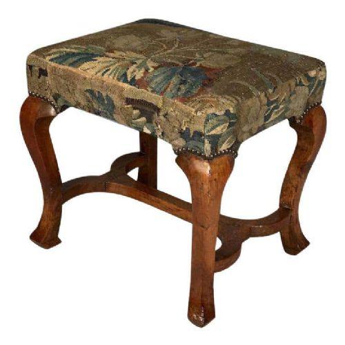 queen anne period walnut stool