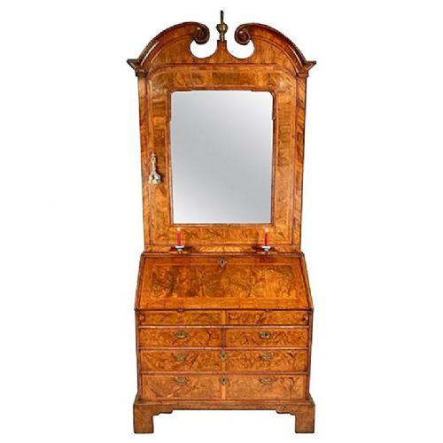 george i period walnut bureau bookcase