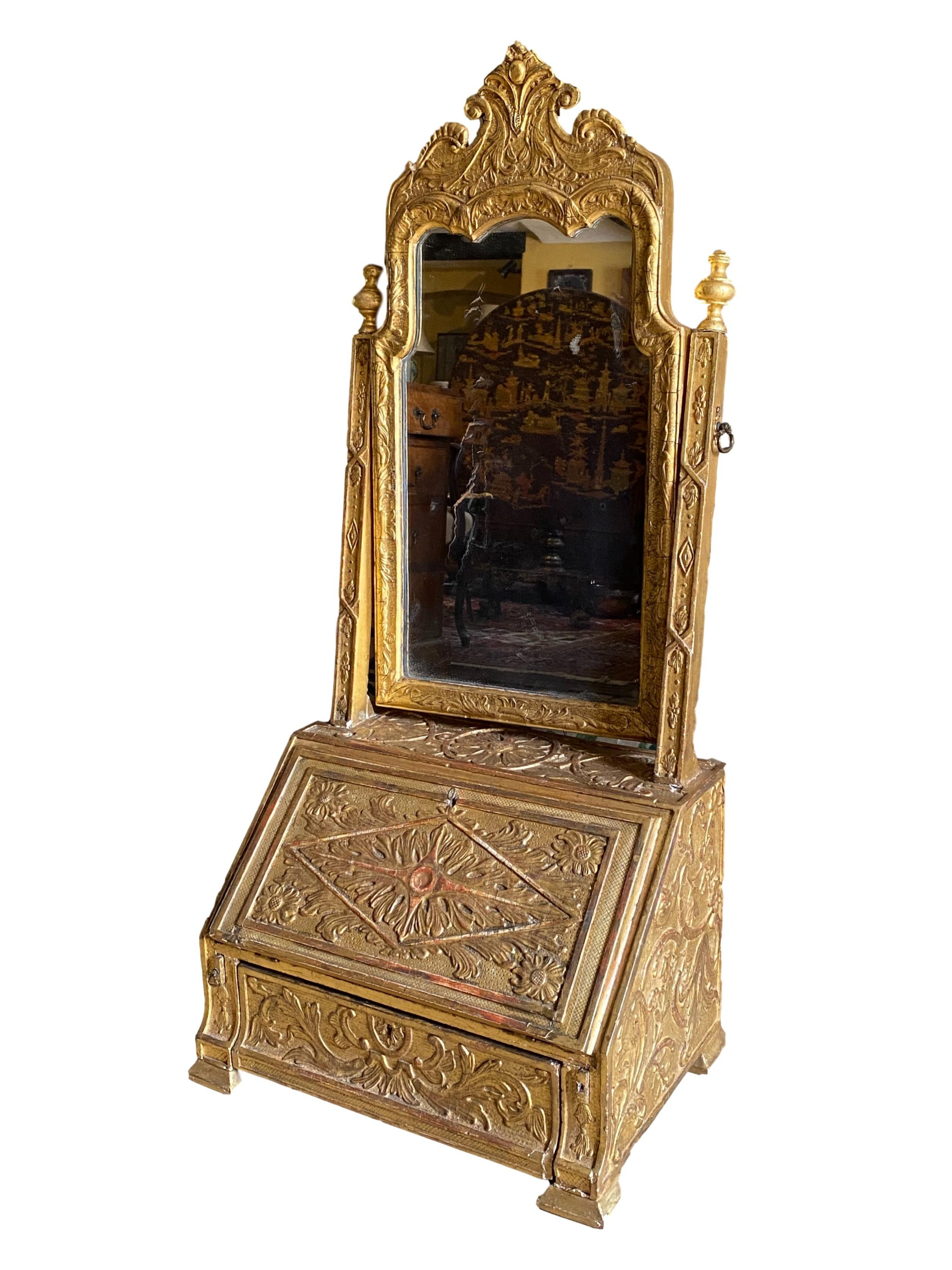 early 18th century carved giltwood dressing mirror