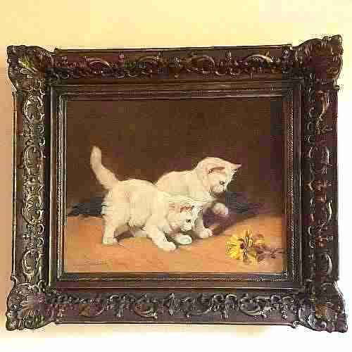 oil on canvas painting of kittens by gabrielle rainer istvanffy original frame c1900