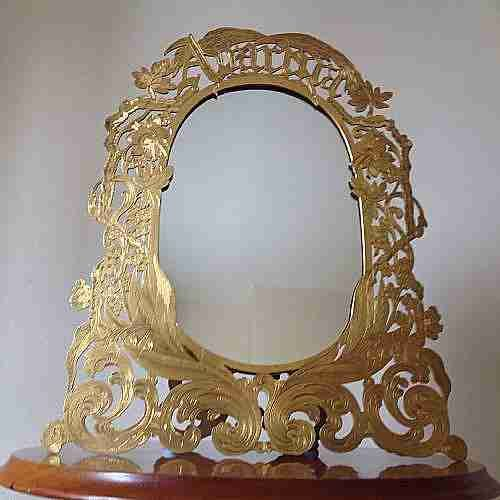 mirrorsfrench gilded ormolu on brass table mirror aurora with easel frame c1860