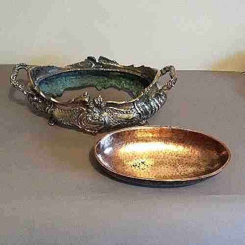 jardiniere19th c french rococo style brass jardiniere with hammered copper liner