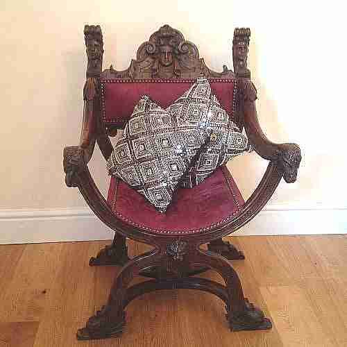 armchairscarved throne chairfrench x framewalnutsuede upholstery french c1860