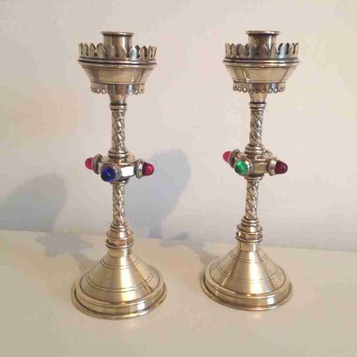 pair gothic candlesticks with cabochons and original red oxide to base in manner of pugin c1840