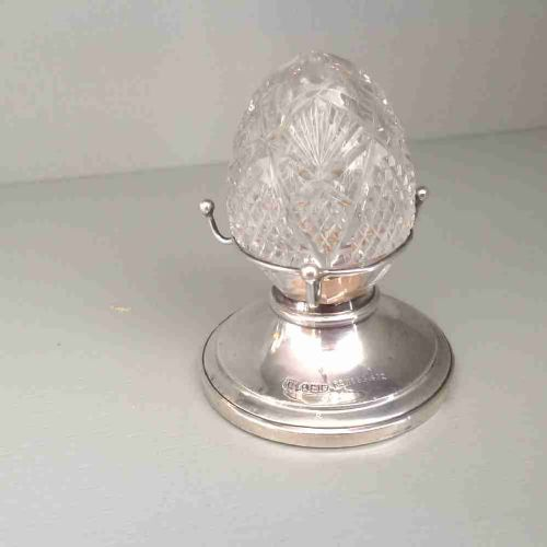 silver and cut glass ring holder in form of a pepper milllondon 1914reg marks