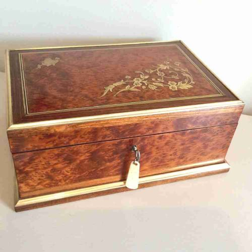 large jewellery boxpalais royal amboyna with rosewood bandinginlaid with brass original silk lining c1870