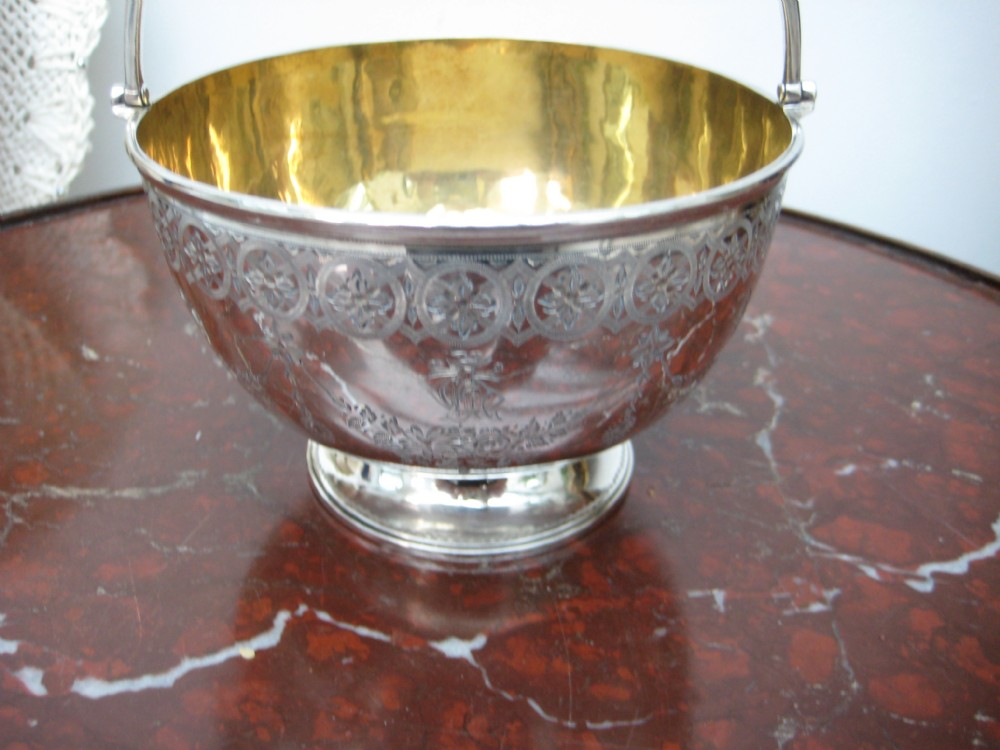 silver and gold bowl gilded interior and handle excellent condition london 1887