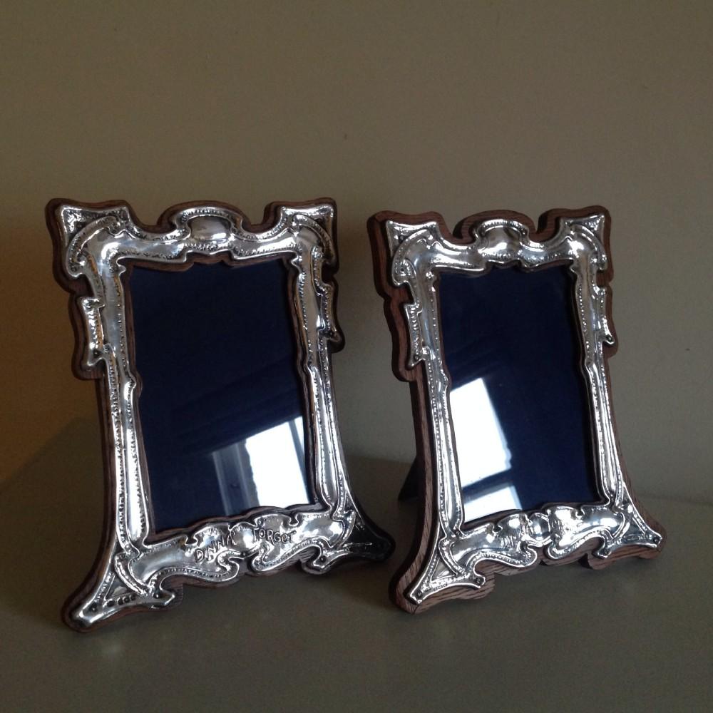 pair art nouveau silver frames j aitken sons birmingham 1904
