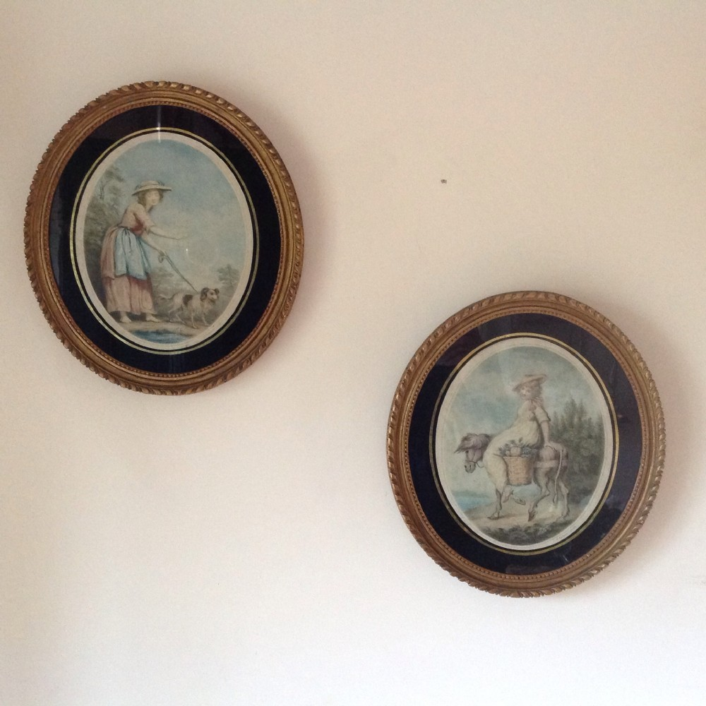 frames picturesa pair of gilded and painted framesoriginal prints c1880