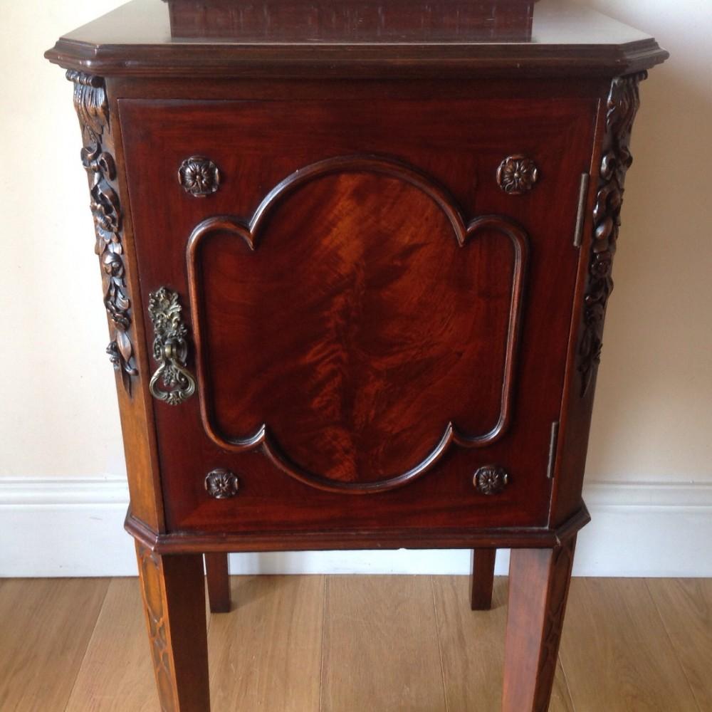 bedside cabinetlarge mahogany bedside cabinet chippendale style c1890