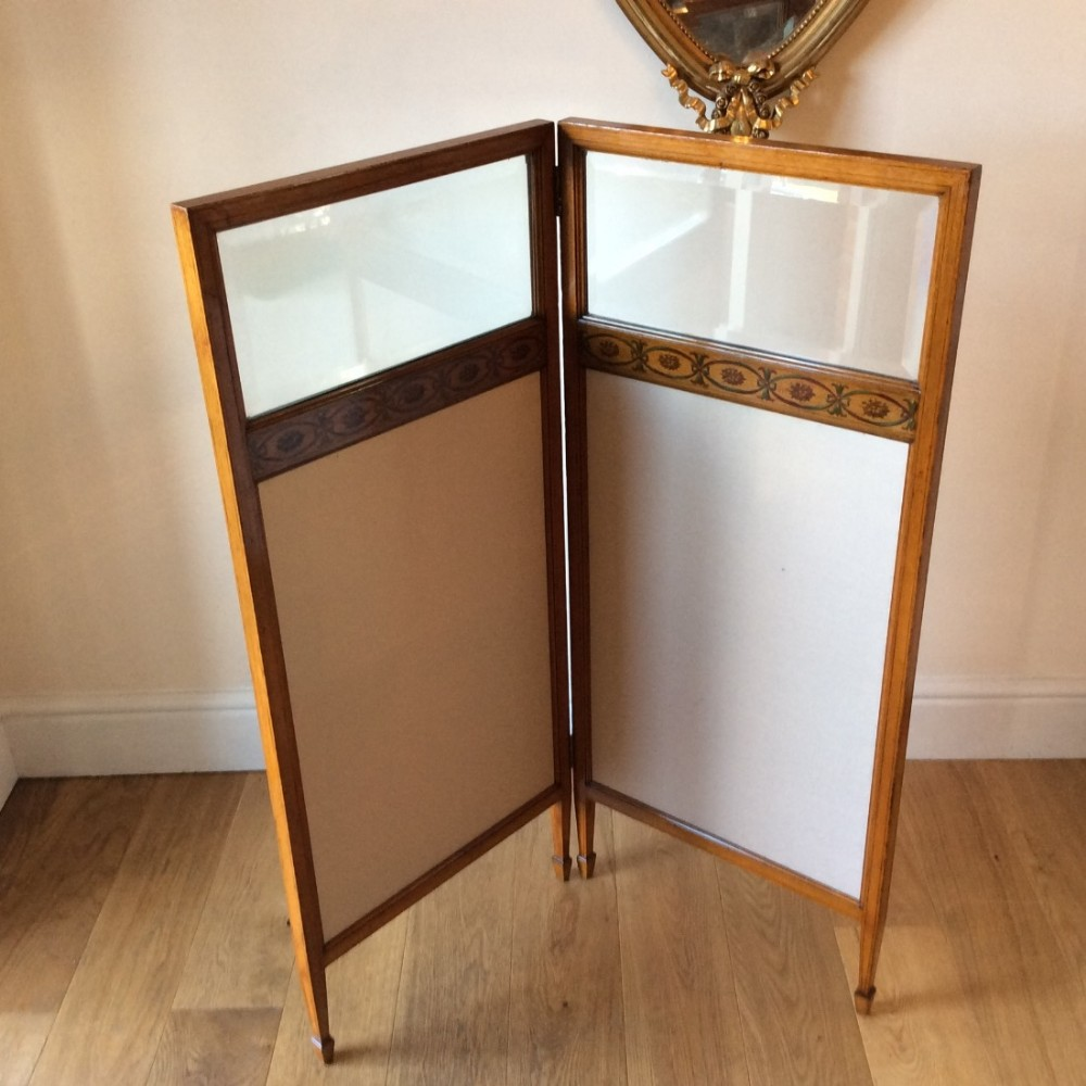 fire screens satinwood two fold screen finely painted sheraton revivalreversible hinges c1880