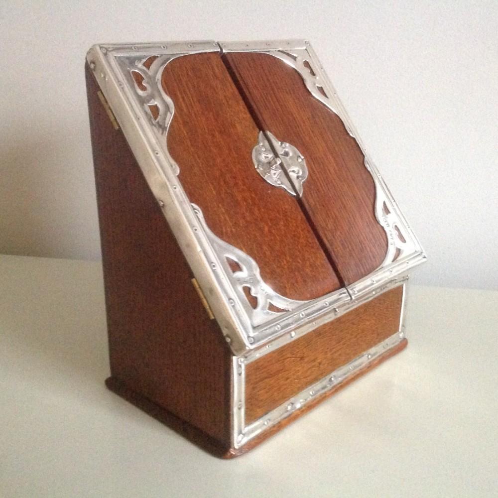 boxsilver and oak stationary box art nouveau henry matthews birmingham1905
