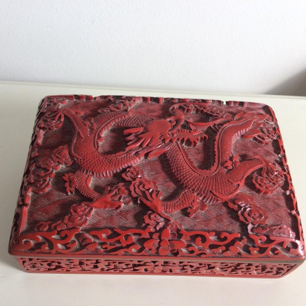 boxeschinese cinnabar and cloisonn hinged 19th century box c1880