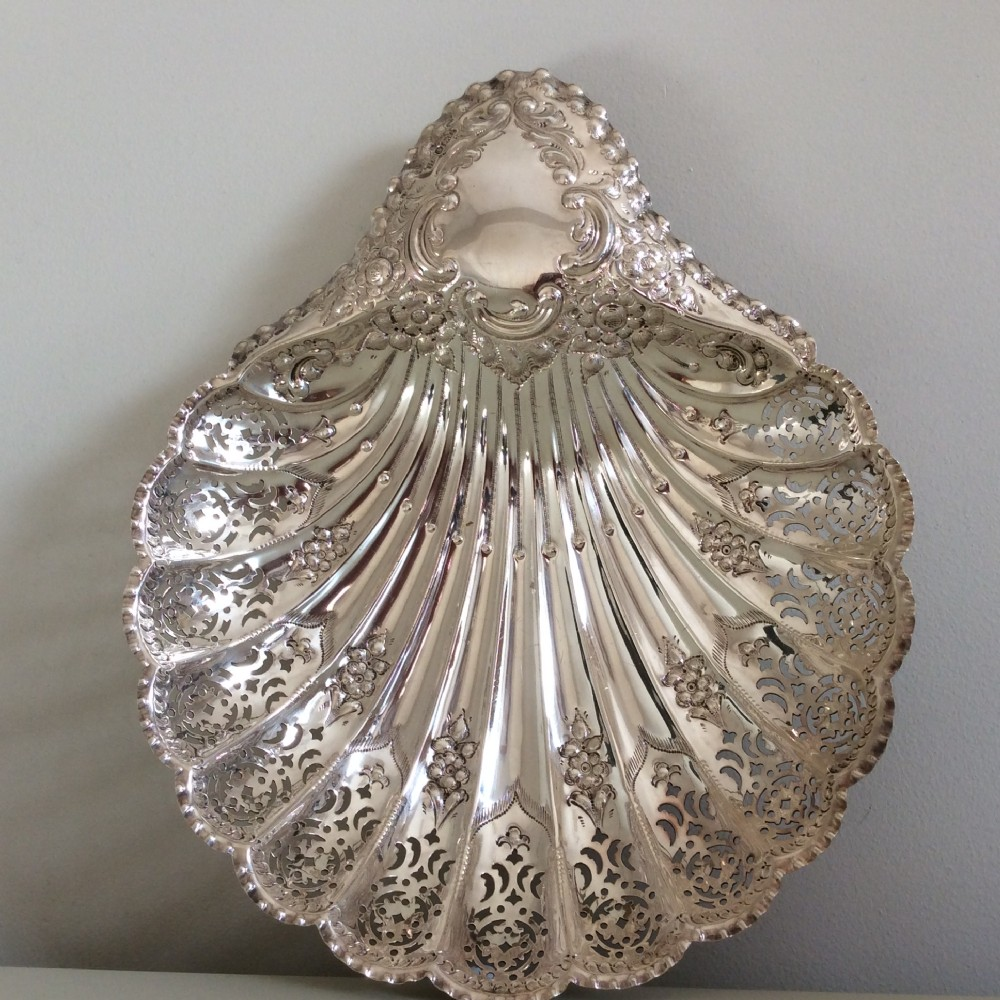 silver shell fruit dish11x 9 inches 340grsheffield 1897 atkin bros