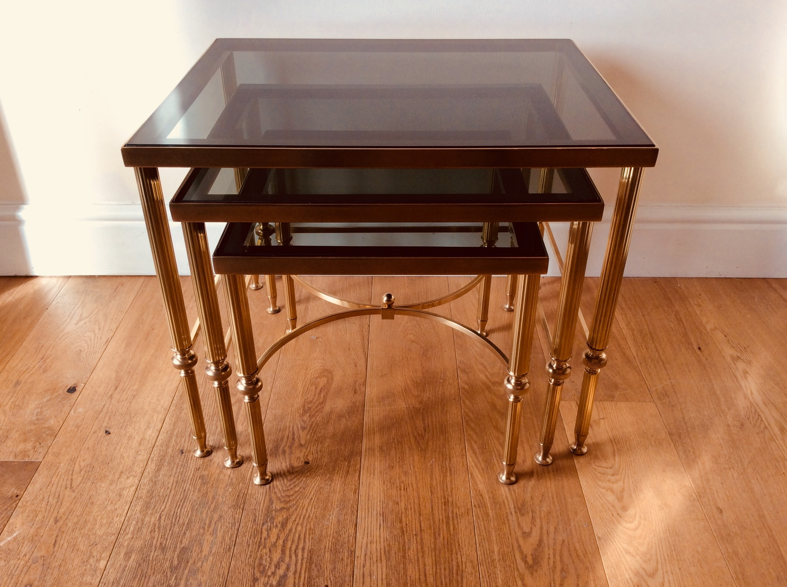 tables french brass and glass set of 3 tables finest qualityprobably maison jansen paris c1920