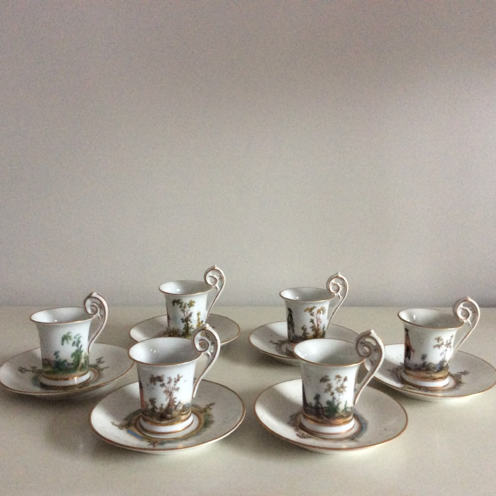 dresden set of 6 hand painted dresden coffee cups in meissen style by hamann late 19thc