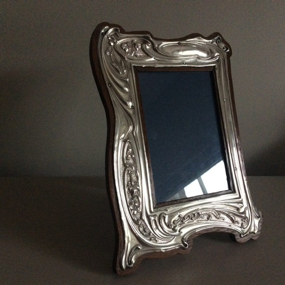 art nouveau silver photo frame fenton bros sheffield 1904