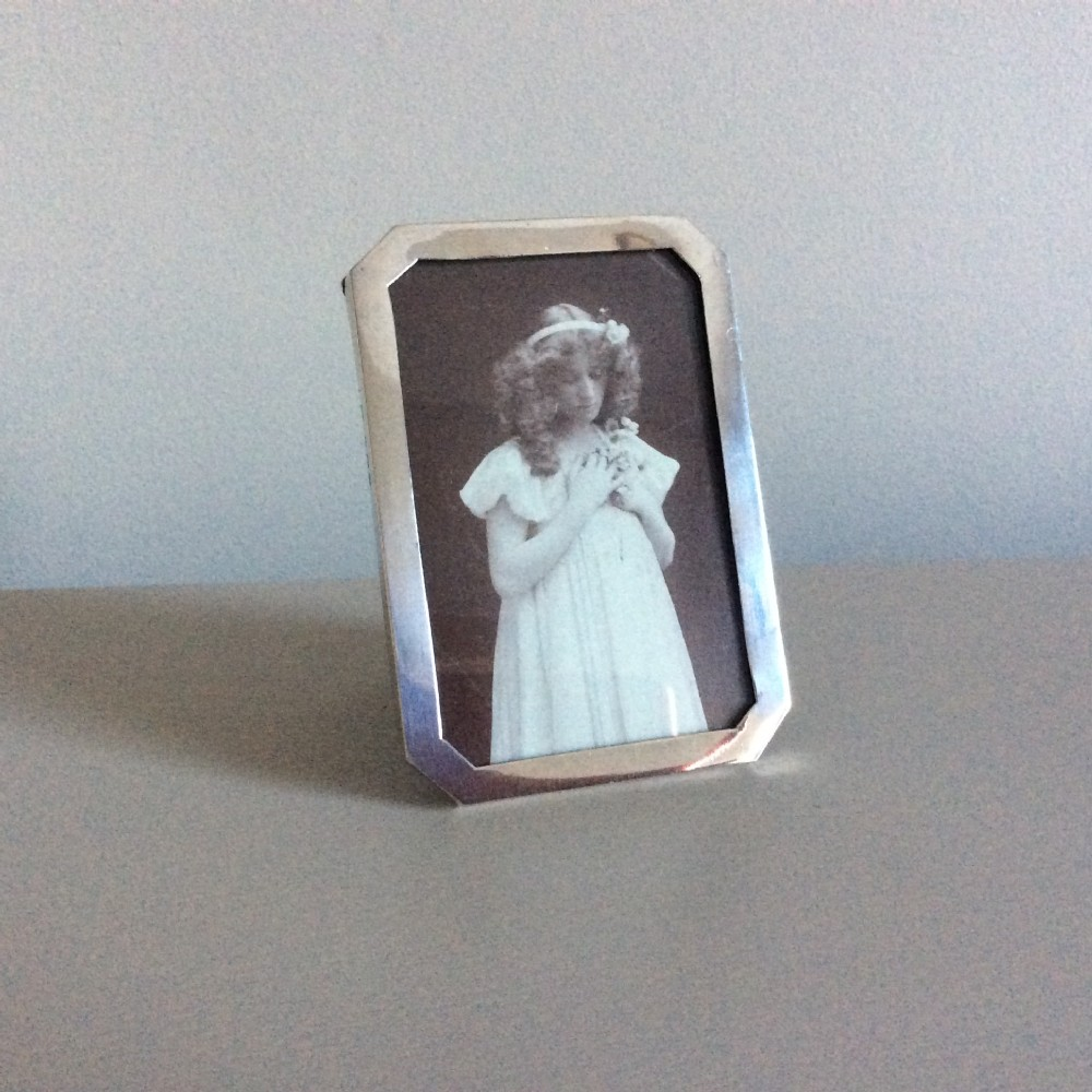 antique solid silver photo frame oak back birmingham 1919 b m