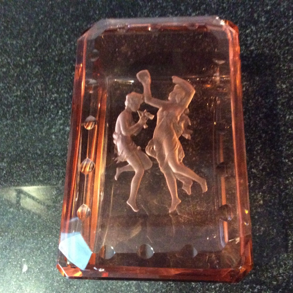art deco jewelley boxrose gold glass deep etched c1920