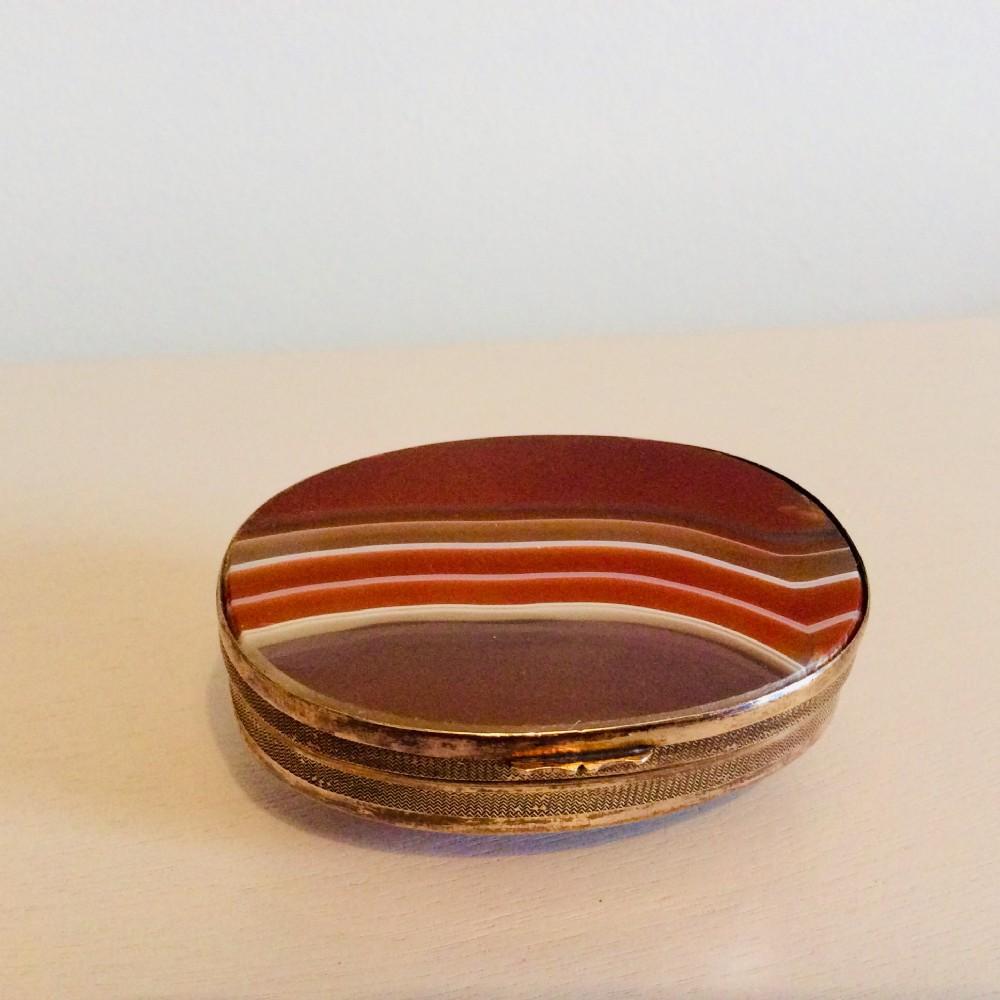 large oval double agate jewellery boxgeorgian c1820
