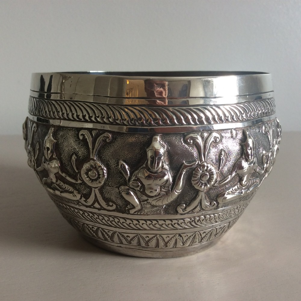 burmese silver bowl richly decorated with deitiesmarks to base 19th c