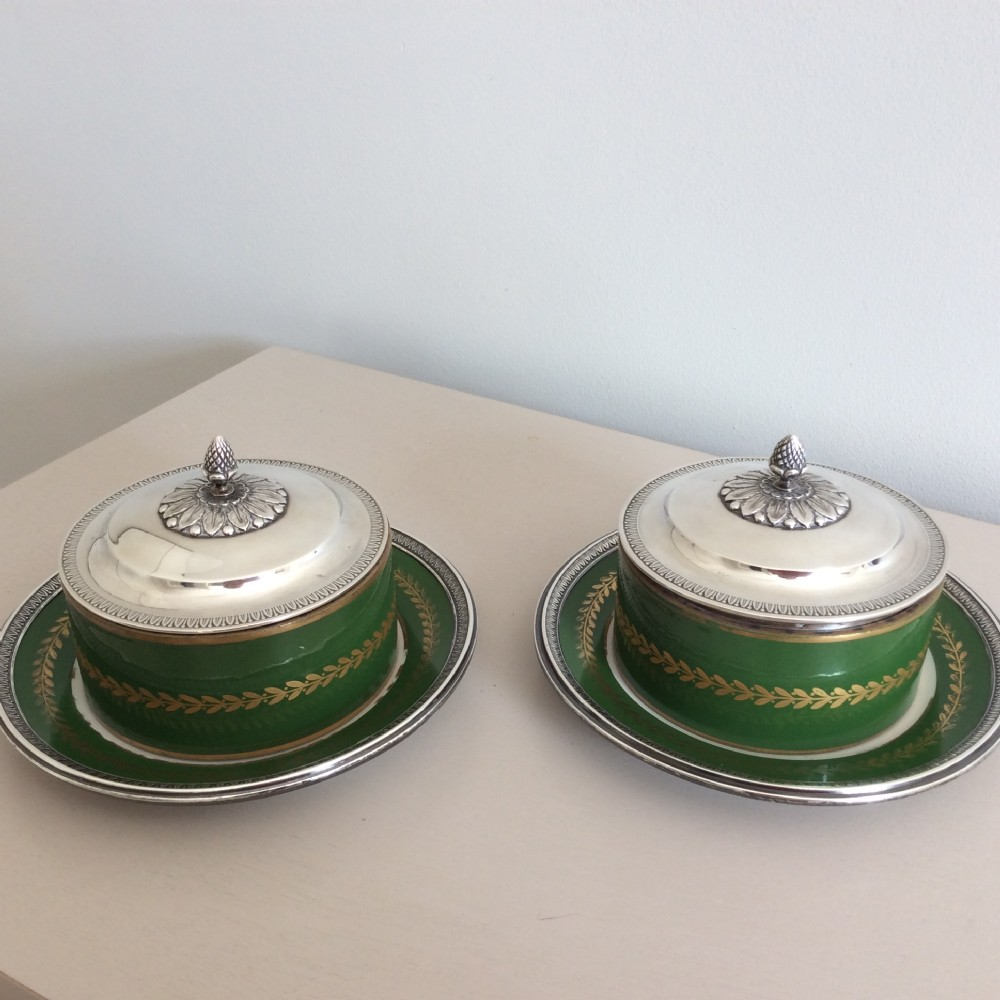 pair of silver caviar dishes with porcelain bowls and silver edged saucersfrench silver marks with english import marks c1890