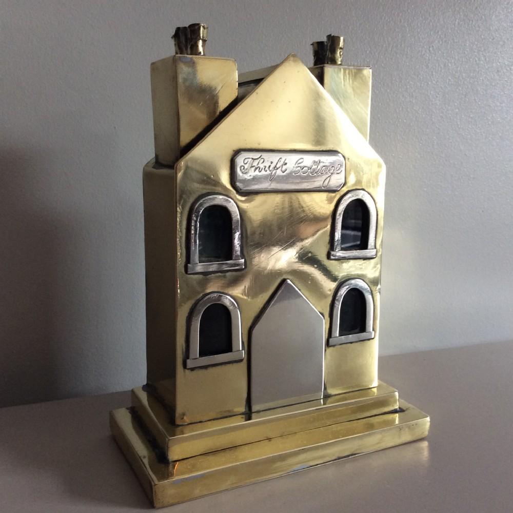 steel and brass money box with original glass window panes thrift cottage c 1870