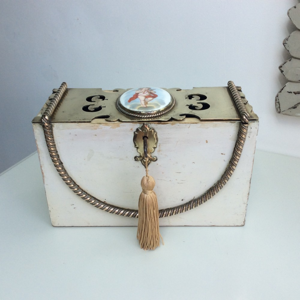rare french letterboxhousekeeping boxbrass rope decoration and hand painted porcelain plaque c1840