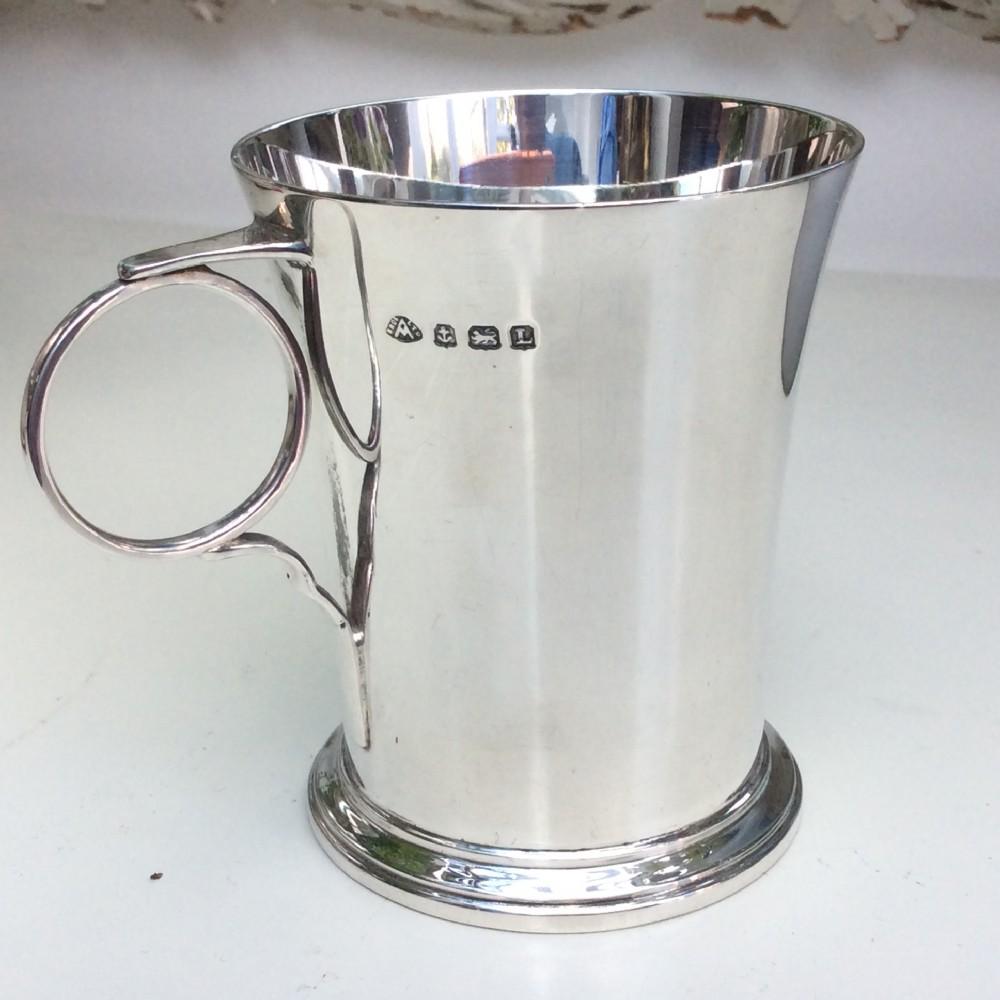art deco silver christening mug tankard adie brothers birmingham 1935