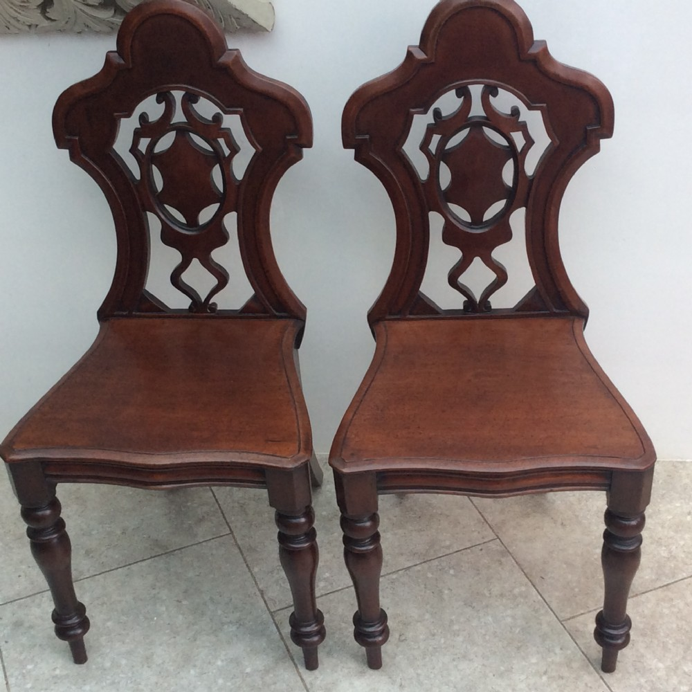 pair of hall chairs mahogany in wonderful conditionstamped jlh c1860
