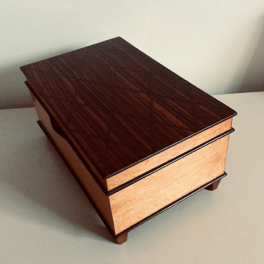 art deco musical jewellery box two sectionand integrated ring sectionin rosewood and maple fabulous condition c1920