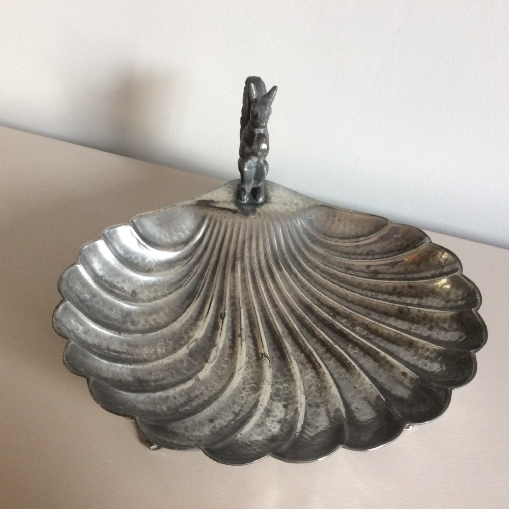 english pewter nut dish with squirrel full set of marks hutton sheffield