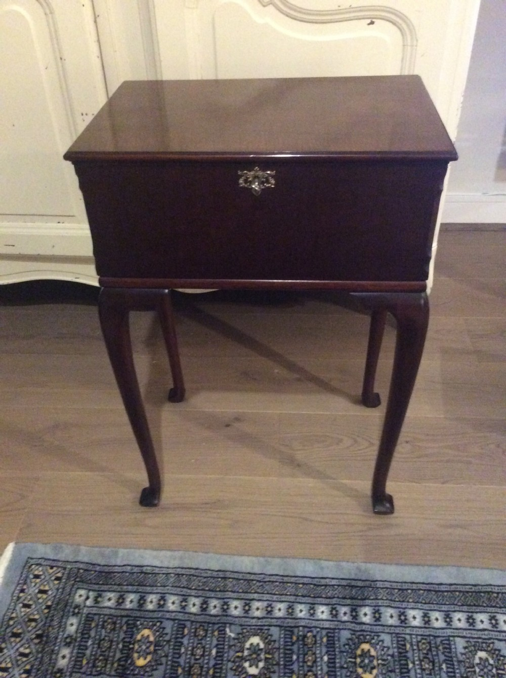 mahogany sewing table original satin interior queen anne style c1900