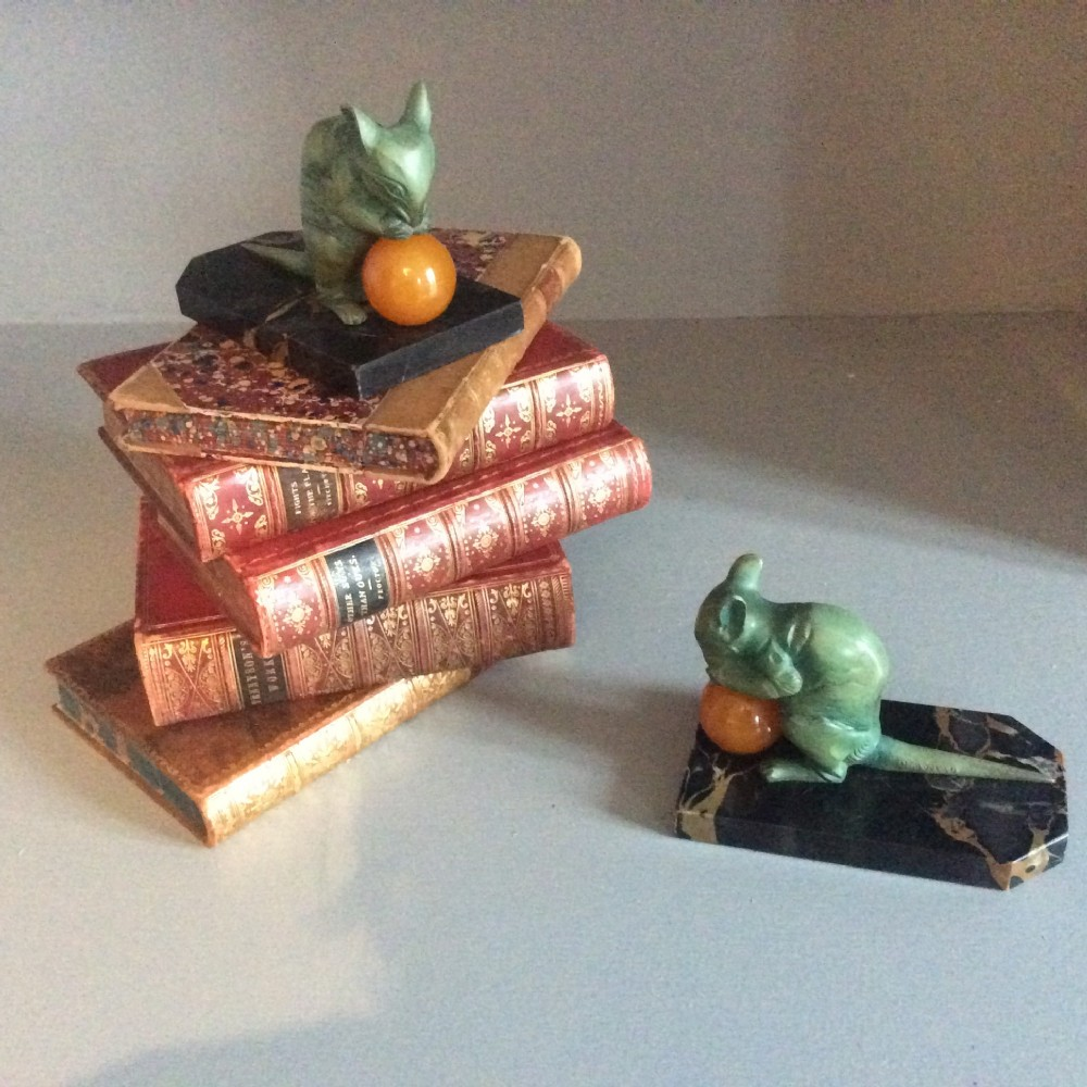 pair of art deco bookends patinated mice bookends signed h moreau c1925