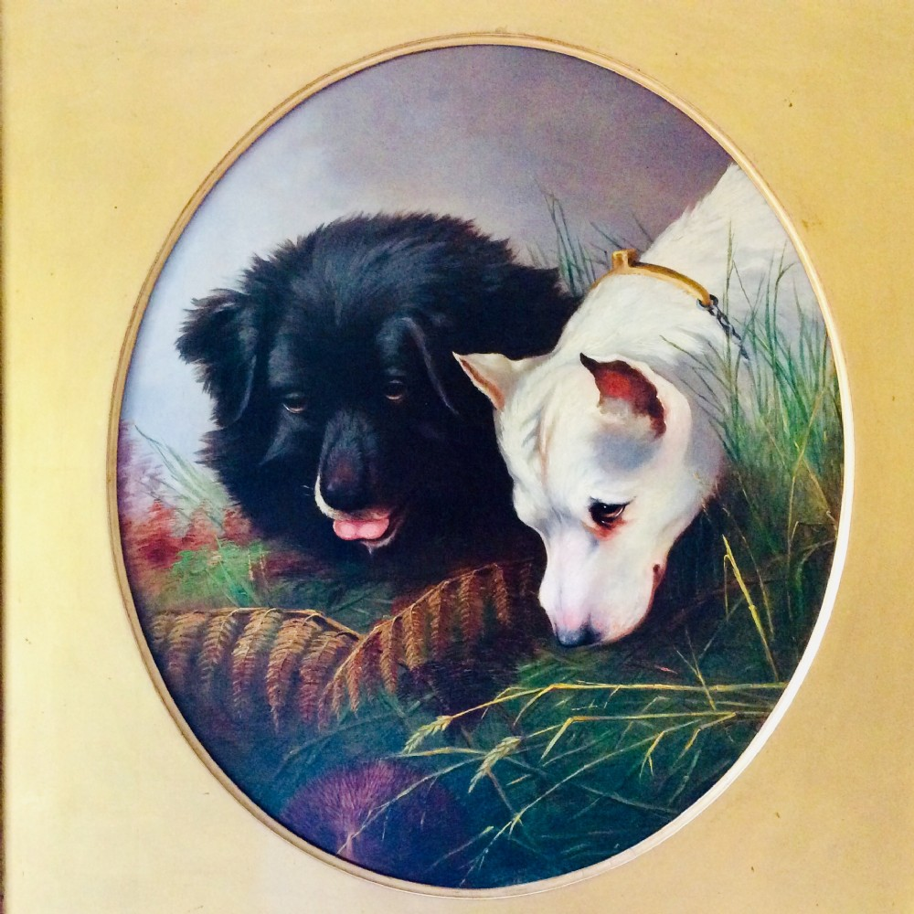 framed d oil painting with gilded slip of two dogs and a hedgehog signed and dated 1868