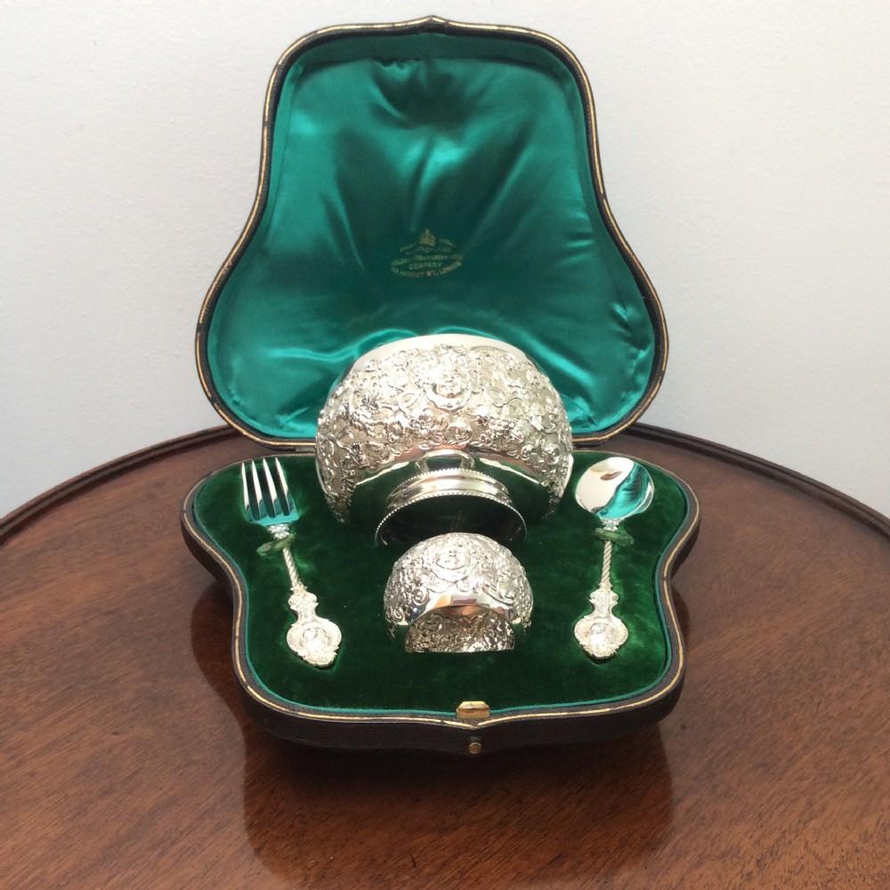 large silver christening set goldsmiths silversmiths regent street wg jl 1893 mint