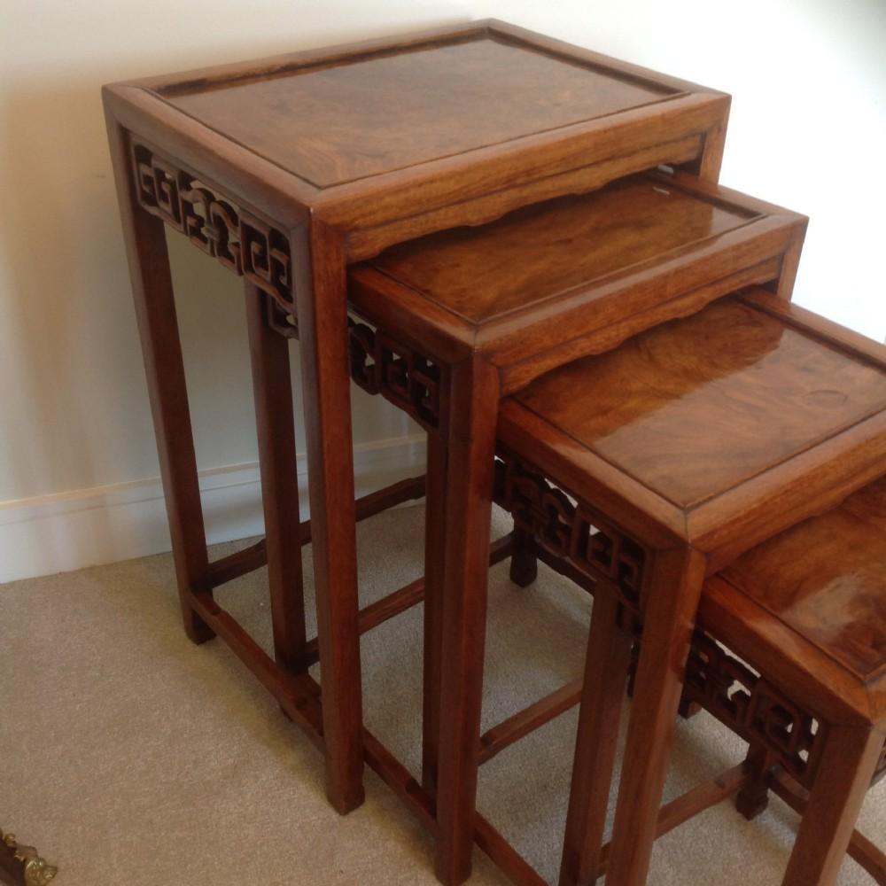 rosewood burr elm side tables nest of 4 19th c