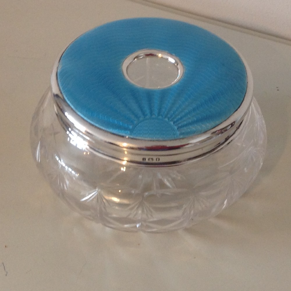 silver and guilloche trinket dish with cut glass bowl london 1933 ca