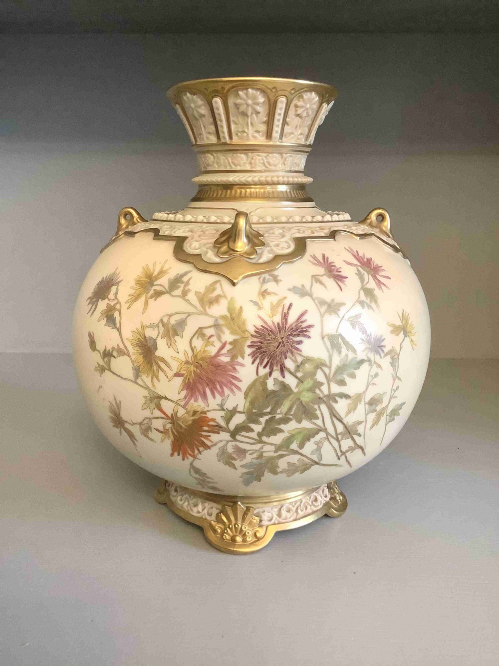 large royal worcester vase gilded floral design perfect condition full set marks 1891