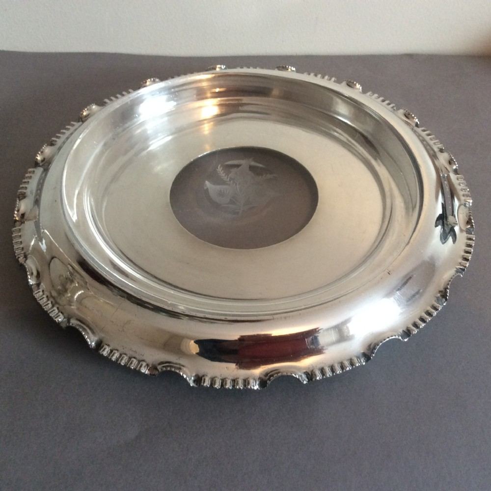 silver plate and engraved glass 2 piece cake stand walker hall b 1910